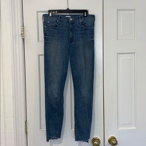Mother stunner zip ankle step fray jeans, size 29
